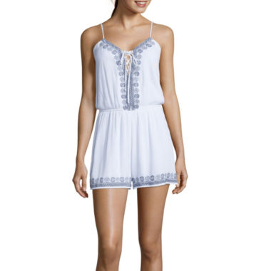 jcpenney.com | Trixxi® Sleeveless Embroidered Lace-Up Romper