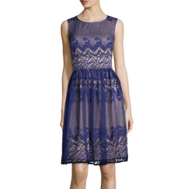 jcpenney.com | London Style Collection Sleeveless Scroll Stripe Lace Fit-and-Flare Dress