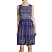London Style Collection Sleeveless Scroll Stripe Lace Fit-and-Flare Dress