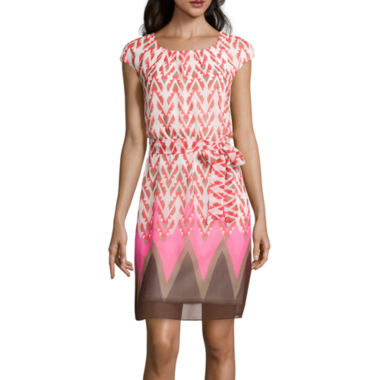 jcpenney.com | Robbie Bee® Cap-Sleeve Chevron Blouson Dress