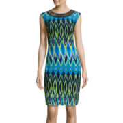 Studio 1® Sleeveless Necklace Print Sheath Dress