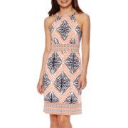 London Style Collection Sleeveless Halter Border Print Dress