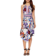 London Style Collection Sleeveless Floral Alternative-Hem Halter Dress