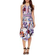 London Style Collection Sleeveless Floral Alternative-Hem Halter Dress