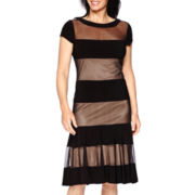 R&M Richards Sheer Stripe A-Line Dress