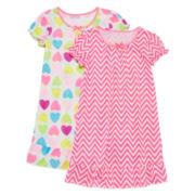 Okie Dokie® 2-pc. Short-Sleeve Gown Pajama Set - Preschool Girls 4-6x