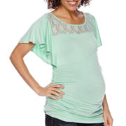 Maternity Flutter-Sleeve Lace-Yoke Ruched-Side Top