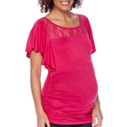Zoomers Maternity Flutter-Sleeve Lace-Yoke Ruched-Side Top - Plus