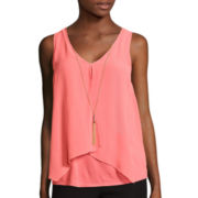 by&by Sleeveless Split Front Knit-To-Woven Top with Necklace