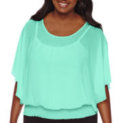 By & By 3/4-Sleeve Smock-Hem Dolman Top - Juniors Plus