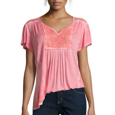 jcpenney.com | Unity™ Short-Sleeve Lattice Peasant Top