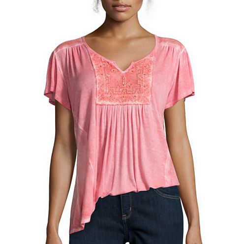 Unity™ Short-Sleeve Lattice Peasant Top