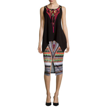 jcpenney.com | Bisou Bisou® Sharkbite Embroidered Tank Top or Slit-Front Pencil Skirt
