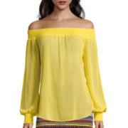 Bisou Bisou® Long-Sleeve Off-The-Shoulder Smocked Top