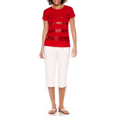 jcpenney.com | St. John's Bay® Short-Sleeve Sequin Tee or Cropped Cargo Pants - Petite