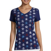 St. John's Bay® V-Neck Americana Graphic T-Shirt