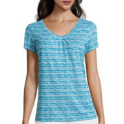 St. John's Bay® Short-Sleeve Shirred V-Neck Tee - Petite