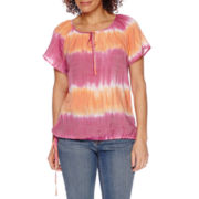 St. John's Bay® Short-Sleeve Print Top- Petite