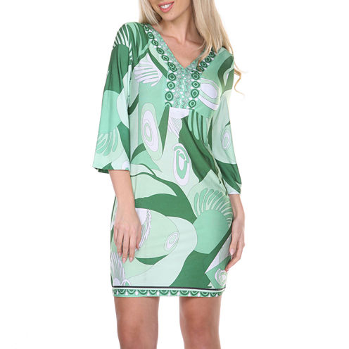 White Mark Belinda 3/4 Sleeve Abstract Sheath Dress