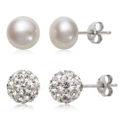 2 Pair Cultured Freshwater Pearl Crystal Sterling Silver Earring Set