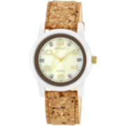 Sprout® Eco-Friendly Womens Cork Watch w/ Diamond Accents