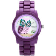 Sprout® Eco-Friendly Womens Purple Owl Corn Resin Bracelet Watch