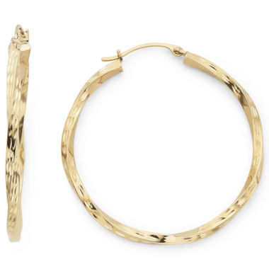 jcpenney.com | Diamond-Cut Round Twist Hoop Earrings 10K Gold
