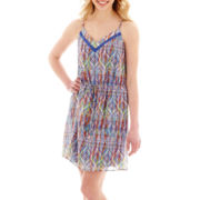 My Michelle® Sleeveless Drawstring-Waist Aztec Print Dress