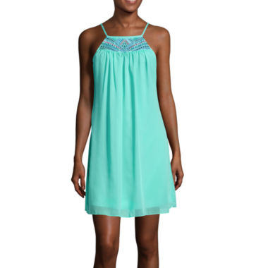 jcpenney.com | My Michelle® Spaghetti-Strap Embroidered-Yoke A-Line Dress