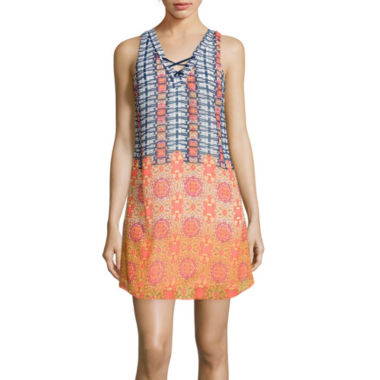 jcpenney.com | My Michelle® Sleeveless Lace-Up-Back Printed A-Line Dress