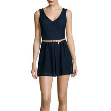 jcpenney.com | City Triangles® Sleeveless Belted Crochet Romper