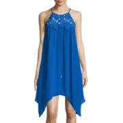 City Triangles® Sleeveless Spaghetti Strap High Neck Crochet Collar Alternative Hem Dress- Juniors