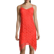 Luxology Sleeveless Crochet Handkerchief-Hem Dress