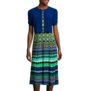 Danny & Nicole® 3/4-Sleeve Aztec Jacket Dress