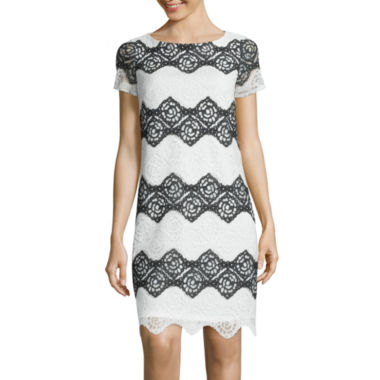 jcpenney.com | London Style Collection Short-Sleeve Floral Lace Stripe Shift Dress