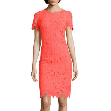 jcpenney.com | DR Collection Short-Sleeve Lace Sheath Dress