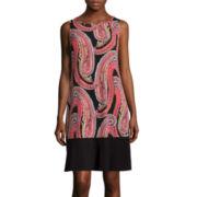 RN Studio by Ronni Nicole Sleeveless Paisley Colorblock Shift Dress
