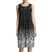 Perceptions Sleeveless Pleat-Front Print Shift Dress
