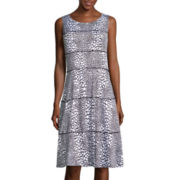 Perceptions Sleeveless Dot Print Seamed Shift Dress