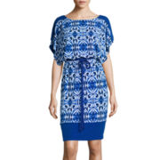 Sangria Short-Sleeve Blouson Dress