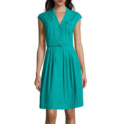 Liz Claiborne® Sleeveless Belted Patch Pocket Shirtdress