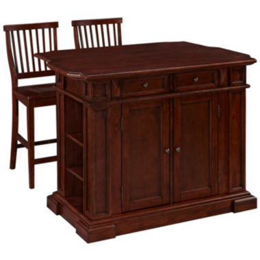 jcpenney.com | Bransford Cherry Kitchen Island with Two Stools