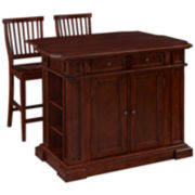 Bransford Cherry Kitchen Island with Two Stools