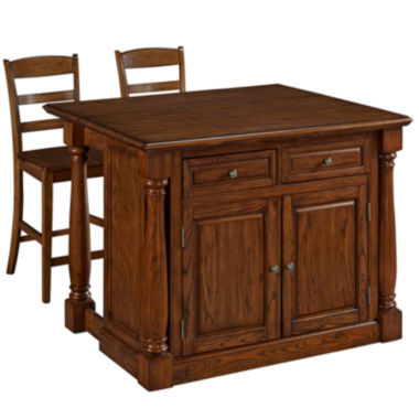 jcpenney.com | Montmarte Oak Kitchen Island with Two Stools