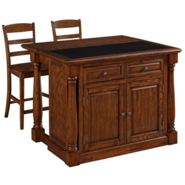 jcpenney.com | Montmarte Oak Granite-Top Kitchen Island with Two Stools
