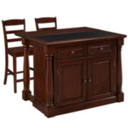 Montmarte Cherry Granite-Top Kitchen Island with Two Stools