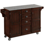 Blue Ridge Grey Granite-Top Kitchen Cart