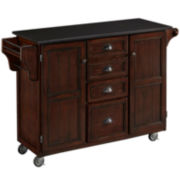 Blue Ridge Black Granite-Top Kitchen Cart