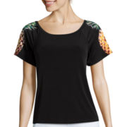 nicole by Nicole Miller® Off The Shoulder Short-Sleeve Pineapple Top