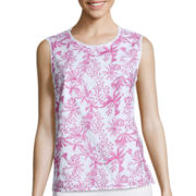 Liz Claiborne® Sleeveless Embroidered Shell Top - Tall